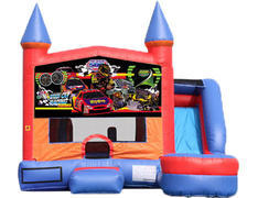 6-in-1 Castle Combo with Slide (Wet) - Race Cars