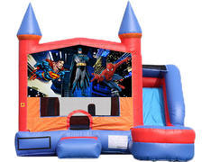 6-in-1 Castle Combo with Slide (Wet) - Superheroes