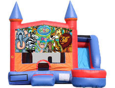 6-in-1 Castle Combo with Slide (Wet) - Wild Kingdom