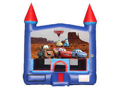 Blue & Red Castle Bounce House - Cars