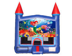 Blue & Red Castle Bounce House - Little Mermaid