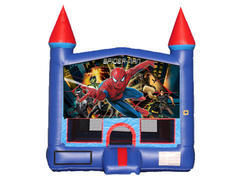 Blue & Red Castle Bounce House - Spiderman