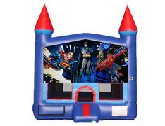 Blue & Red Castle Bounce House - Superheroes