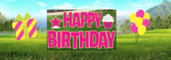 Pink Yard Signs (Happy Birthday)