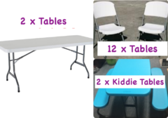 2xTable, 12xChair, 2xKiddie Table Package