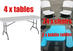 4xTable, 24xChair, 2xKiddie Table Package