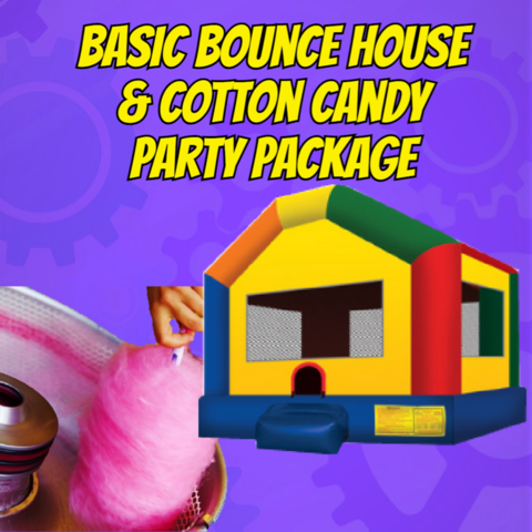 Basic bounce house in primary colors with a cotton candy machine rental