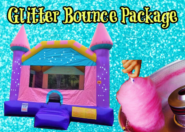 glitter bounce house with a cotton candy machine rental