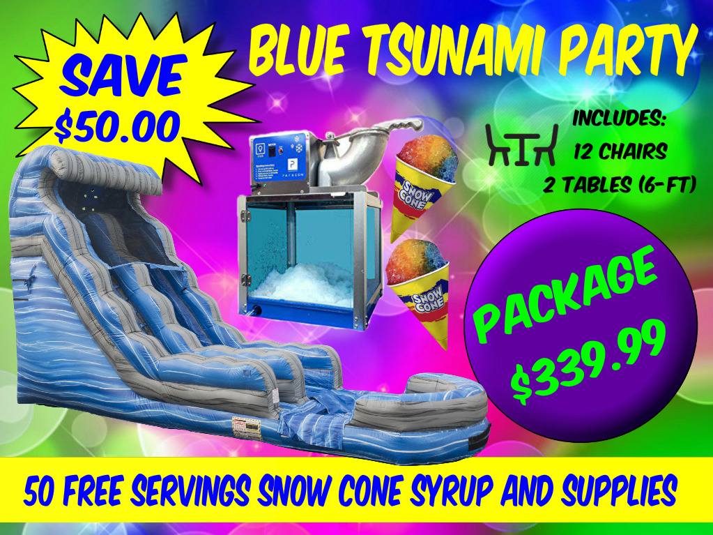 Blue Tsunami Party Package Water Slide Rental Fayetteville NC