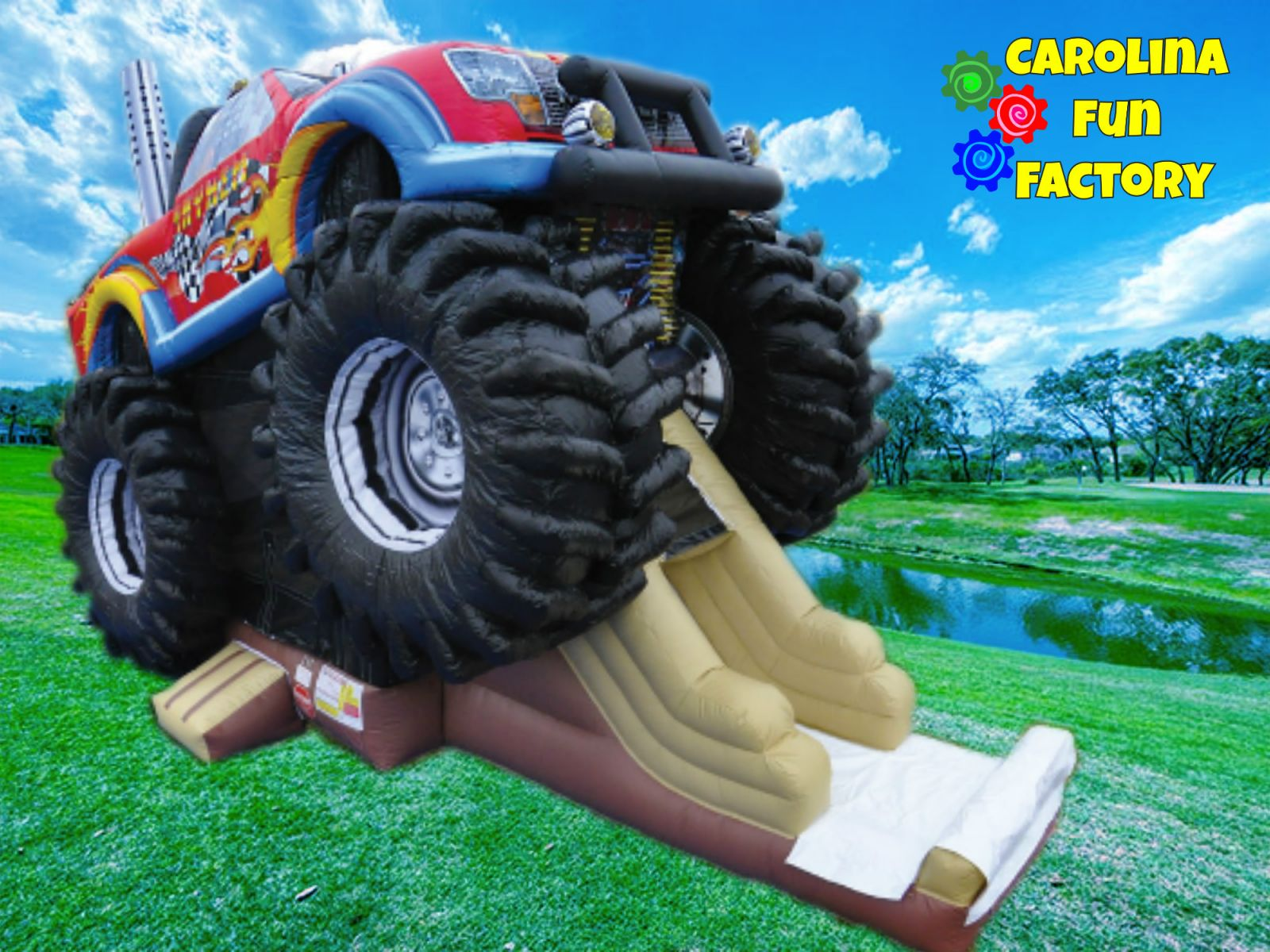 Inflatable Monster Truck Bounce house with Slide available from Carolina Fun Factory