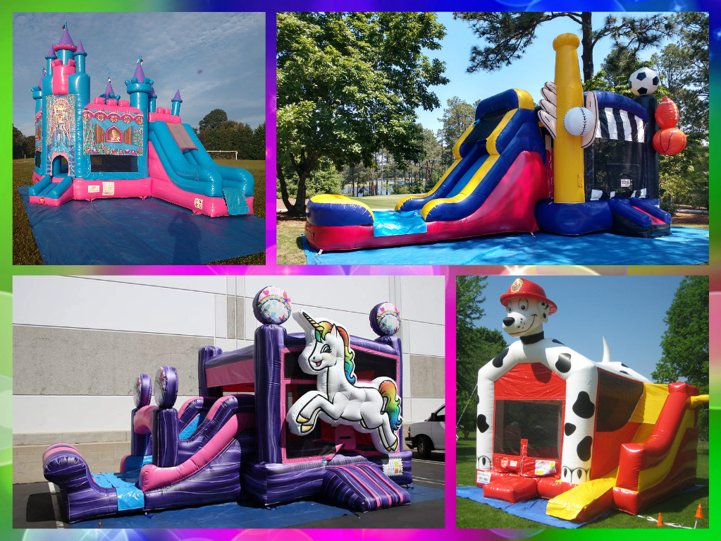 Choose from one of our exciting combo bounce and slide units to build your Bounce and Slide Party Package