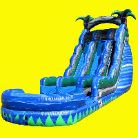 Blue Crush Double Lane Water Slide Rental with Pool