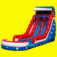Stars and Stripes Double Lane Water Slide Rental18ft