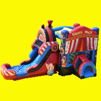 Circus Train Bounce House with Water Slide and Splash Pad