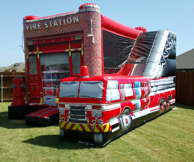 Southern Pines Fire Station Combo Bounce House with Slide Rental