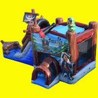 Pirate Ship Bounce House with Water Slide and Splash Pad