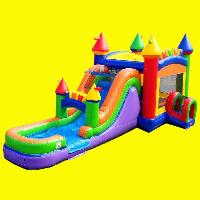 Rainbow Castle Jumper with Slide and Splash Pad