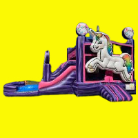 Mini Unicorn Bounce House and Water Slide with Pool