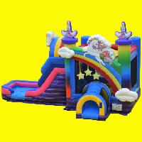Unicorn Rainbow Bounce House with Water Slide and Splash Pad
