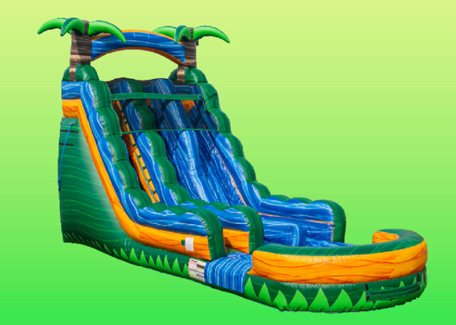 Tropical Emerald Rush Double Lane Water Slide - 18ft