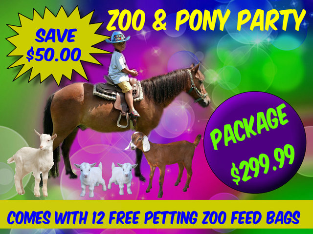 Petting Zoo with Pony Ride Package