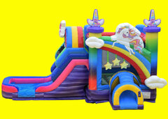 Unicorn Rainbow Castle Bounce House with Slide - WET
