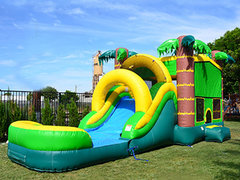 Wet Bounce House Slide Combo -Tropical Aloha