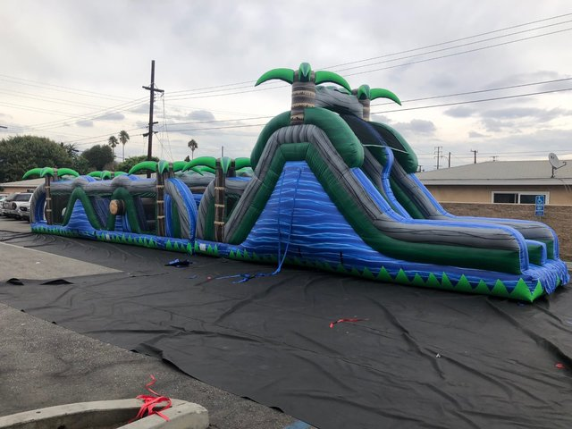 68' Blue Paradise Obstacle Waterslide Combo