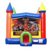 Fire Trucks Moonwalk Castle Bounce House