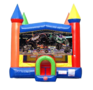 Monster Trucks Moonwalk Castle Bounce House