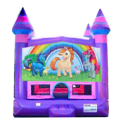 Unicorn Ponies Purple Castle Moonwalk