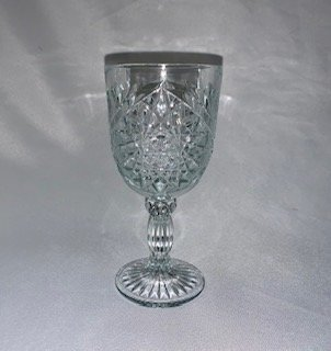 Glass, Water Goblet, Decorative Clear Glass 12 oz.