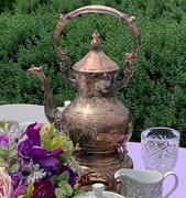Coffee Pot, Antique Silver w/Warmer