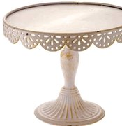 "Cake Stand: Tall Ivory 12""Dx10""H"