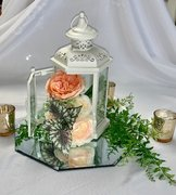 Lantern Ensemble, Ivory w/Mirror, Floral Insert, & 3 Votives
