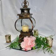 Lantern Ensemble, Gold w/Mirror, Greens & 3 Votives