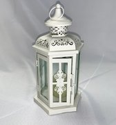 "Lantern: Ivory w/Flameless Candle 12""H"