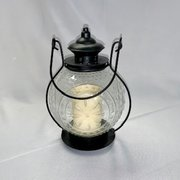 "Lantern: Black w/Flameless Candle 11""H"