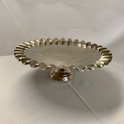 "Scalloped Silver Collection: Pedestal Cake Stand 17""Dx6""H"