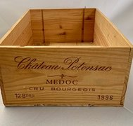 "Chateau Potensac Wine Box, Wood 13""Lx19.5""Wx7""H"