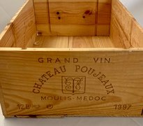 "Chateau Poujeaux Wine Box, Wood 13""Lx20""Wx7""H"