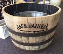 J Daniels Whiskey Half-Barrel