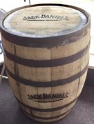 "J Daniels Whiskey Barrel - approx 36"" H x 24""D"