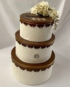 Card Box, Tiered Copper, Ivory and Lace
