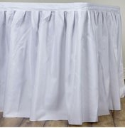14' Table Skirting, Solid Poly White