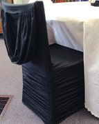 Banquet Chair Cover, Swag Back Ruche, Black