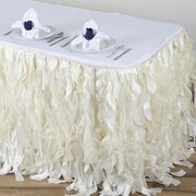 17' Specialty Table Skirting, Curly Willow Taffeta White