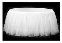 21' Specialty Table Skirting, Tulle White