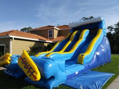 20Ft Double Lane Wipe Out Water Slide
