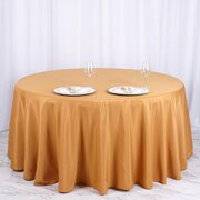 "Round Tablecloth 120"" Polyester Gold"